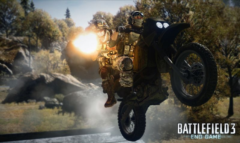 DICE Unleashes Battlefield 3: End Game - Get Ready for Even More Lethal High-Speed Action - bf3 end game dirtbike passenger firing water
