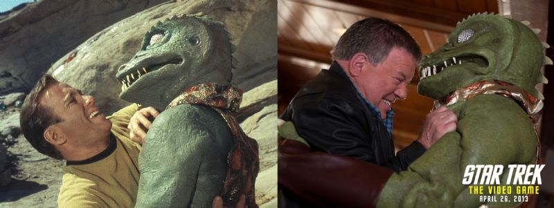 STAR TREK: THE VIDEO GAME Creates Authentic 'Star Trek' Experience! (360, PC, PS3) - side by side   shatner   gorn