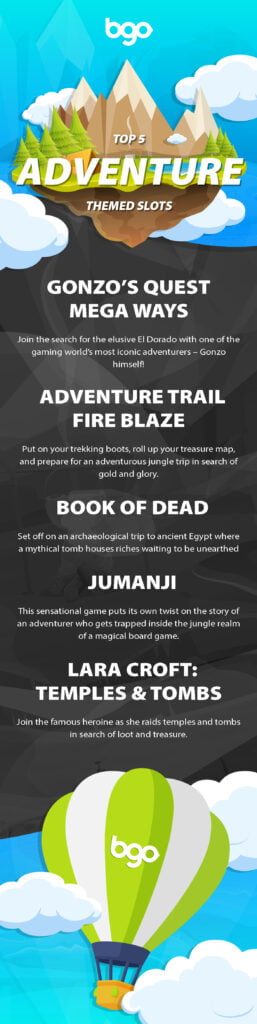 Try your luck on these 5 adventure-themed slots - Top 5 Adventure Themed Slots infographic